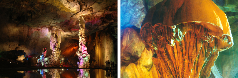 通天飞瀑自然壮观景色,是由双龙瀑和珠帘瀑构成落差120余米的飞瀑,座落在洞穴之中,洞中瀑布层层叠叠,一层高于一层,是华东地区独一无二的洞中飞瀑群。景区内有历史著名的葛洪纪念馆遗址、回龙寺古迹、天井洞探险、森林果园、垂钓、小山峡电站、洗马潭、葛溪、游山观光活动等旅游配套项目。溶洞中最大的广宇天宫厅宏伟壮丽,空阔深邃,景观神奇瑰丽,或巨龙腾空、或仙幔飘逸;洞地巨型蘑菇、莲池伏鳖栩栩如生,惟妙惟肖。景区内服务设施齐全,有飞瀑大酒店、碧湖山庄、六福山庄等宾馆,整个景区环境优美,交通便捷,是休闲