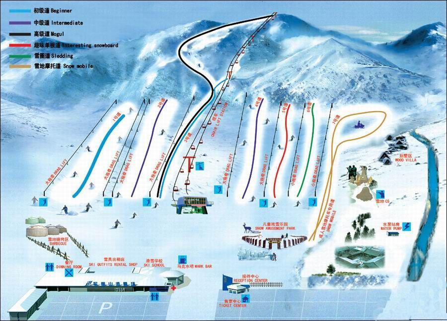 军都山滑雪场雪道示意图