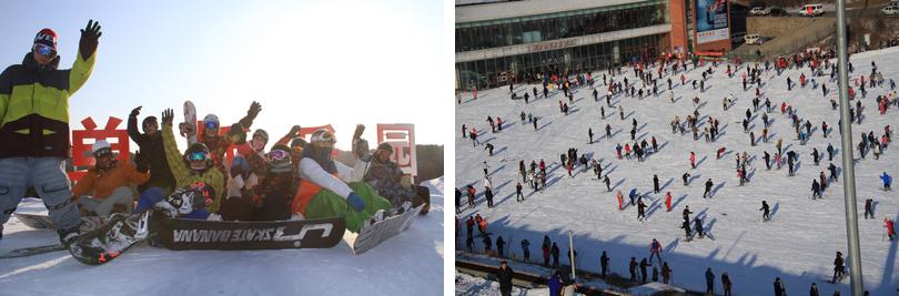 棋盘山滑雪实景