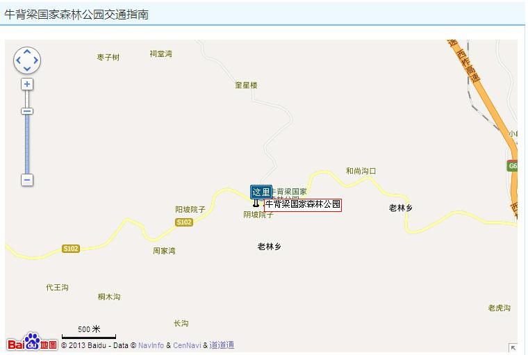 牛背梁国家森林公园地图展示