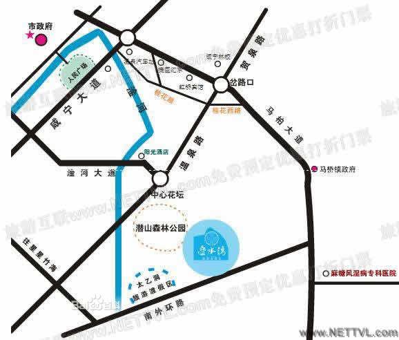 咸宁叠水湾温泉度假村交通示意图