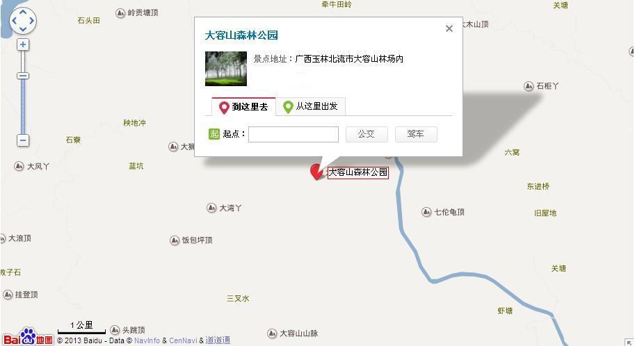 大容山森林公园地图展示