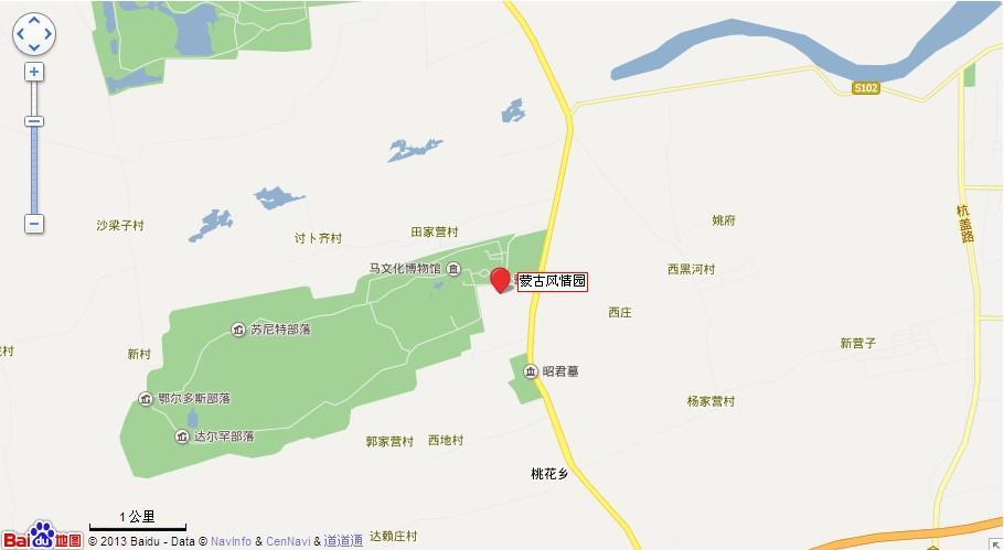 呼和浩特蒙古风情园地图展示