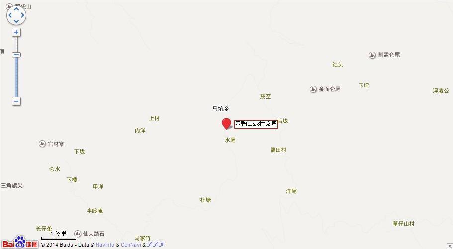 贡鸭山森林公园地图展示