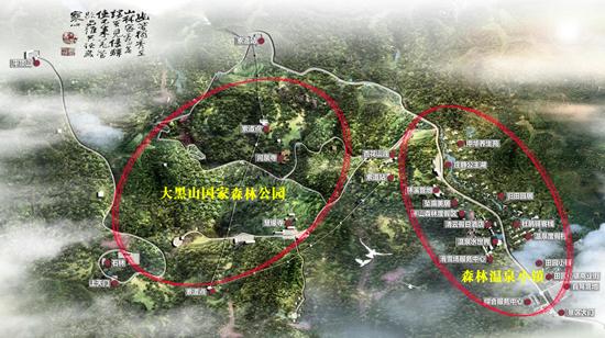 北票大黑山温泉度假村地理位置地图展示