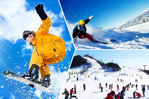 青岛金山滑雪场雪道片段