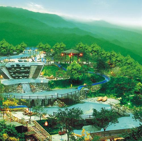灵秀温泉的露天氡温泉池